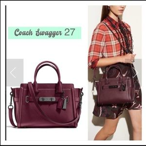 ⭐️NEW!⭐️Coach Glovetanned Swagger 27 in Oxblood